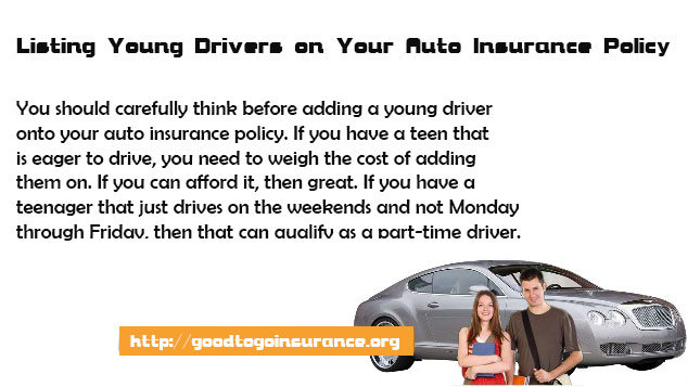 Listing Young Drivers on Your Auto Insurance Policy